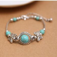 Women Tibetan Silver Retro Bracelet Turquoise Butterfly Bead Inlay Bangle LH