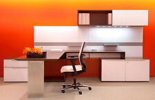Nex Modern L-Shape Office Desk with Storage and Sliding Door Hutch