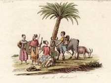 Kupferstich Afrika Madagaskar Ostafrika Tracht 1825 Sasso handkoloriert Grafik