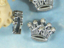 3 Slider Beads Princess Crown Rhinestone 12mm Silver Tone Slot Hole Slide #P1008