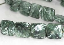 14MM RUSSIAN SERAPHINITE GEMSTONE AA GREEN PERFECT SQUARE LOOSE BEADS 16""