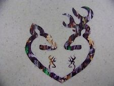 Browning Style Camo Buck and Doe Heart with 2 Baby Bucks Hunting Sticker Decal
