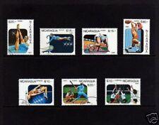 NICARAGUA - 1987 - PAN AMERICAN - BASEBALL - GYMNASTICS ++  7X CTO - NH SET!