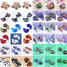Heart Fox Fish Cross Flowers Lampwork Glass Pendant Beads Fit Necklace Jewelry