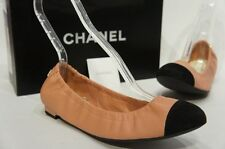 CHANEL CC LOGO BALLET BALLERINA FLAT SCRUNCH SHOES 39/8.5 NIB $695
