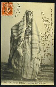 """ALGERIA 1908 """"BLIDA"""" TO """"BRUXELLES"""" P.C. ALGERIAN WOMEN"""
