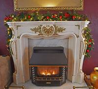 Christmas LED Decorations Garland 9ft Fireplace Tree Pine Ribbon Xmas Pre-Lit