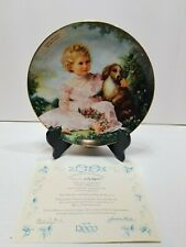Sandra Kuck Golden Afternoon Collector Plate Girl And Dog Papillon Spaniel