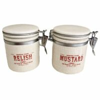 Pottery Barn Mustard And Relish Storage Cannisters Set Of 2