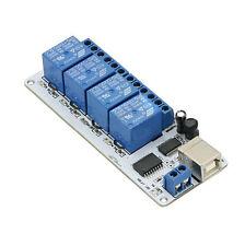12V 4 Channel USB Relay Module Opto-couple For Arduino Robotics E8