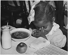 African american Baptist School child praying during lunchtime 5 x 7 reprint