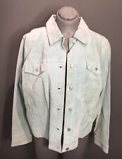 Womans Genuine Suede Leather Seafoam Blue/Green Jacket Sz L-Extra LG