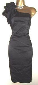 💝STUNNING KAREN MILLEN BLACK SILK CORSAGE TRIM EVENING COCKTAIL PARTY DRESS 10