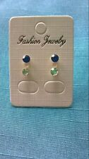 0032 - 2 sets of Earrings Blue and Diamante