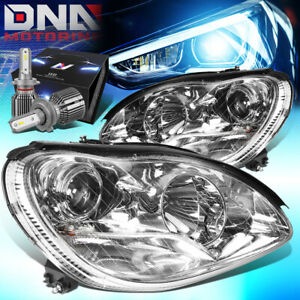 FOR 2000-2006 MERCEDES BENZ S430 PROJECTOR HEADLIGHT W/LED KIT+COOL FAN CHROME