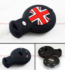 BLK UNION JACK SILICONE PROTECTIVE CASE COVER FOR MINI COOPER SMART CAR KEY FOB