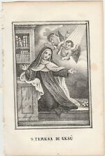 Santa Teresa di Gesù Incisione Originale Santino del 1858