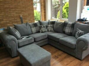 BARON NEW LARGE GREY SILVER SOFA FABRIC CORNER 3+2+1 OR LEFT RIGHT CHESTERFIELD