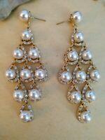 Vintage goldtone big statement faux pearls chandelier dangle earrings