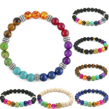 8mm Beads Colorful agate 7 Chakra Stone Healing Reiki Prayer Beaded Bracelet