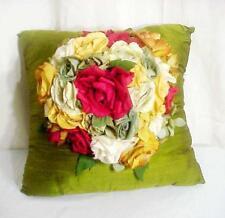 Artist Made Antique Reclaimed Silk Flowers Silk Decorator Pillow