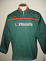 Adidas Mens Miami Hurricanes 1/4 zip Woven pullover Jacket Green Orange NWT