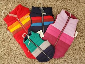 Pet Dog Zip Up Bomber Coat Winter Puffer Jacket Apparel Clothing Red Blue Pink