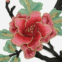 Flower Embroidery Iron On Applique Patch Sewing Acces Peony Lace Bouquet Pink