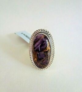 13 ct Copper Mojave Purple Amethyst Sterling Silver Ring Size 6