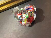 VINTAGE MURANO ART GLASS PAPERWEIGHT MILLEFIORE DOG FIGURINE SCULPTURE MINT