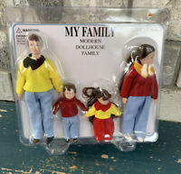 Dolls House Modern Brunette Family of 4 People Mum Dad Daughter Son 1:12 Scale ♾