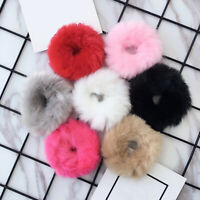Women Girls Fluffy Faux Fur Furry Scrunchie Elastic Hair Ring Rope Band Sy