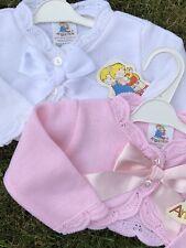 Spanish Knitted Baby Girls Cardigan Bolero Jumper Pink & White 0-3 3-6 6-9 Mths