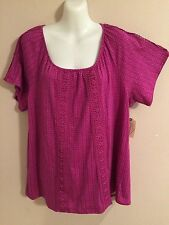 Women's St John's Bay Grape Juice Geo Top with Short Sleeves    Size XL      NWT