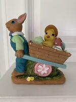 Vintage Bunny Rabbit Pulling Egg Chick Cart Figurine Easter Tabletop Decor