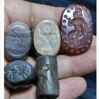 roman sassan Old agate crystal jade 5 Seals cylinderr intaglios beads    #6