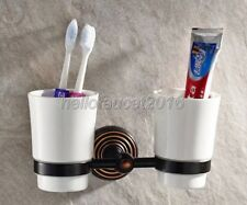 Black Oil Rubbed Brass Wall Mount Bathroom Toothbrush Holder Dual Ceramic Cup