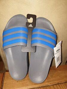 Adidas Adilette Aqua K Unisex Sliders Grey Blue Beach Pool Size 5 UK BNWOB TAGS!