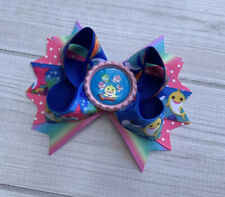 """4.5""""Handmade Baby Sharks Stacked Boutique Hair Bow"""