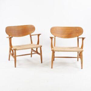 1950s Hans Wegner CH-22 Oak Lounge Chairs Denmark Carl Hansen & Son 4x available