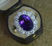 Stunning 2.50ct VS Diamond Amethyst 18ct Gold Cluster Cocktail Ring d0453
