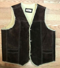Vtg 1970s Mens Genuine Leather Shearling Suede Vest Sz M 42 Brown Snap Front