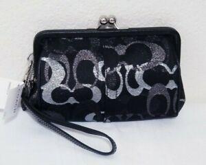NWT COACH Black Silver Lurex SIGNATURE C FRAMED KISSLOCK WRISTLET/CLUTCH N.40244