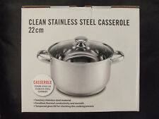 Stainless Steel Covered Casserole Stock or Soup Pot - Glass Lid - Handles - 22cm