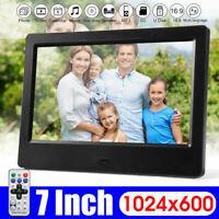 7 inch HD Screen Digital Photo Frame Alarm Clock Music Movie Player UK Plug