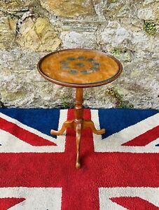 Vintage Yew Wood  1965 Winston Churchill Crown Inset Wine Table