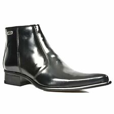 NEW ROCK 2260-S20 Matellic Black Patent Ankle Boots Western Metal shoes