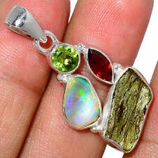 Genuine Moldavite & Ethiopian Opal Rough 925 Silver Pendant AP186652 136V