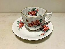 Vintage Windsor, England Tea Cup and Saucer Red Rose ,Gold Gilded Rim