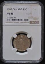 1907 CANADA 25 CENTS - .925 SILVER - Edward VII - NGC Cert. AU53 #4477691-005